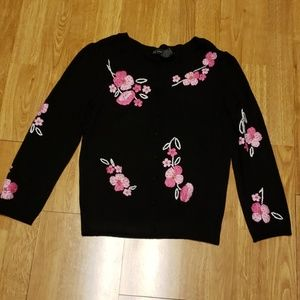 Black with pink floral embroidery cardigan sz sm